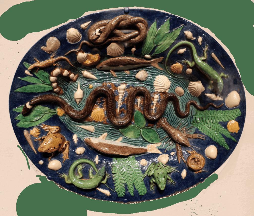 Plat à serpents et animaux, Bernard Palissy, conservé au musée de Cleveland