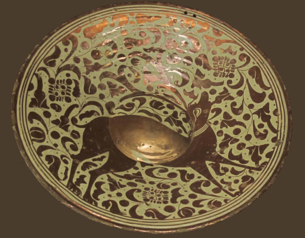 Faïence hispano-mauresque à lustre métallique, milieu XVIème, Catalogne, Musée des Beaux Arts de Lyon