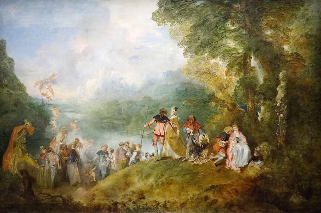 Pèlerinage à l'île de Cythère, Jean-Antoine Watteau, 1717, conservé au Musée du Louvre.