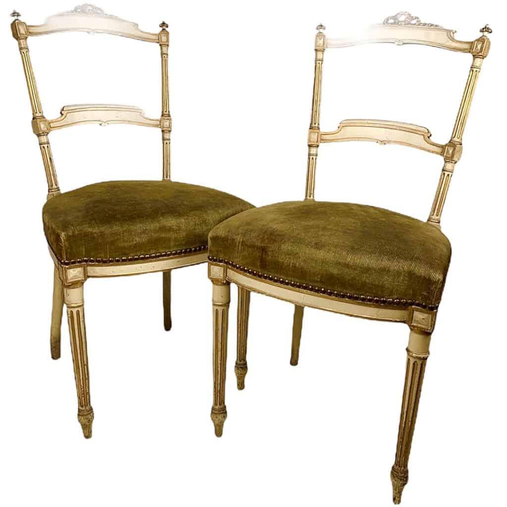 deux chaises époque Napoléon III, de style néo-Louis XVI, en vente sur Antikeo.