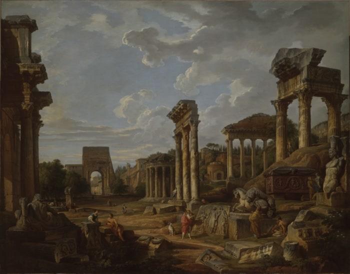 Tableau de Panini, Capriccio d'un forum romain, 1741