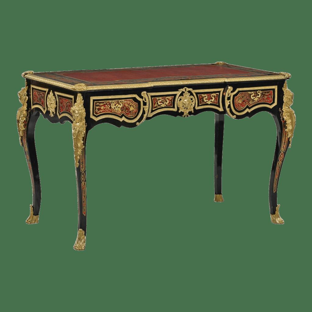 Bureau de style Boulle. Marqueterie Boulle. Bronze doré. Style Louis XIV.