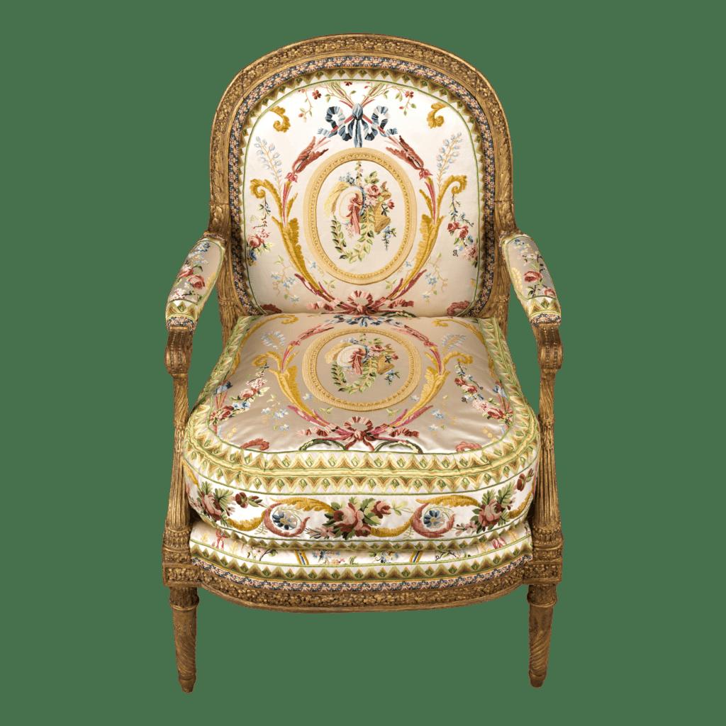 Fauteuil à la reine. Siège Louis XVI.  Fauteuil Louis XVI. Soie. Par J. Gondouin.