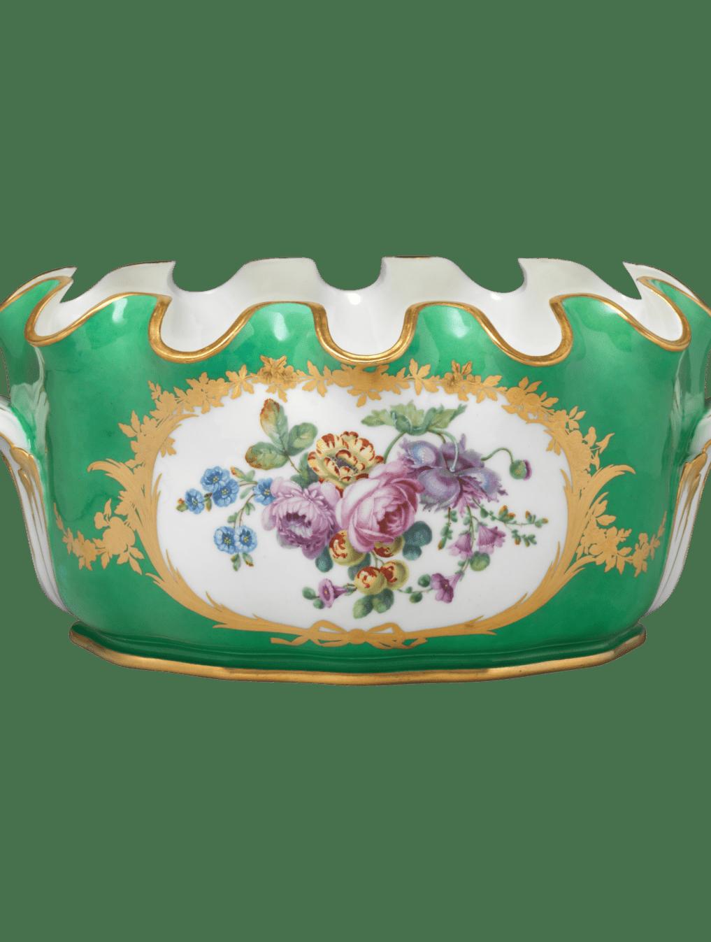 Jardinière en porcelaine de Sèvres. Vert et fleurs. XVIIIe siècle.
