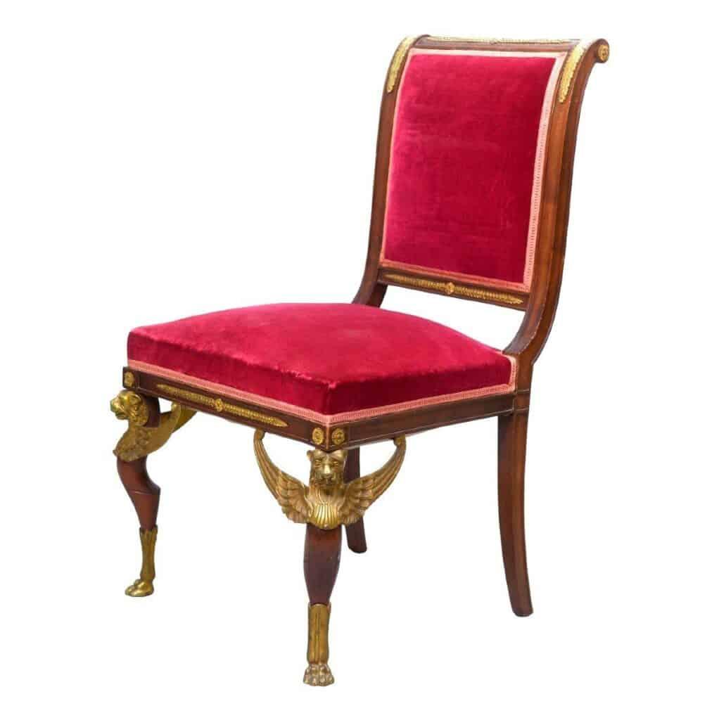 Chaise Empire. Piétement en griffons ailés. Acajou et bronze doré.