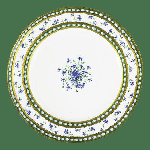 Assiette en porcelaine de Sèvres. Perles et Barbeaux