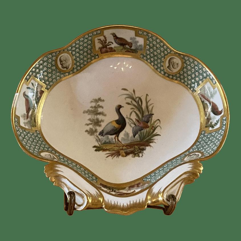 Compotier en porcelaine de Sèvres. Oiseaux Buffon