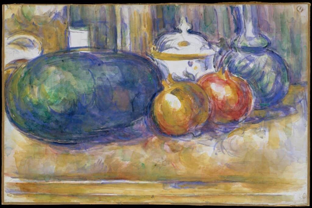 Nature morte. Cubisme. Pastèques et grenades. Cézanne.
