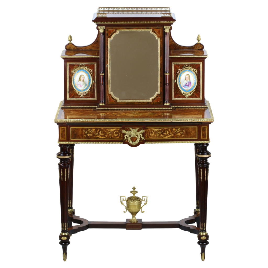 Bonheur du Jour Napoléon III. Plaque en porcelaine de Sèvres.