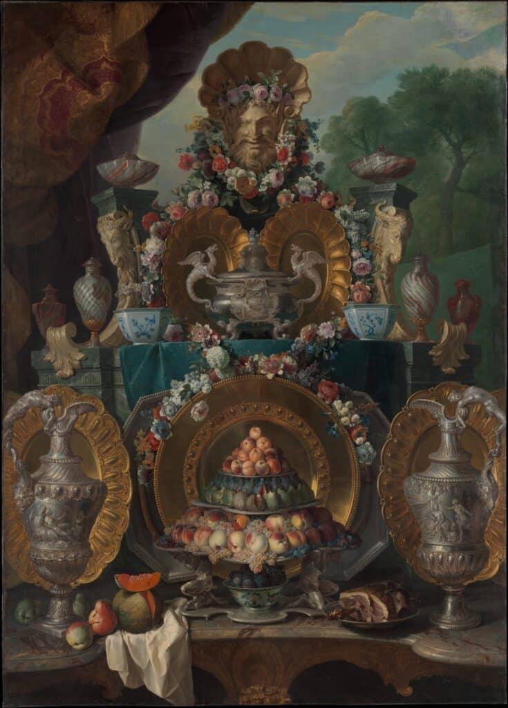 Nature morte avec argent de Desportes. France. Louis XVI.
