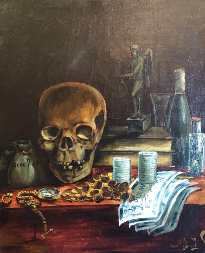Vanité XIXe siècle. Crâne humain. Montre en or.