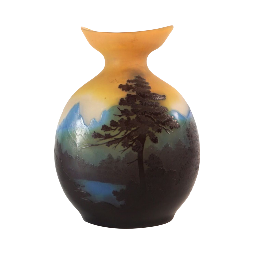 Vase Gallé en verre multicouches