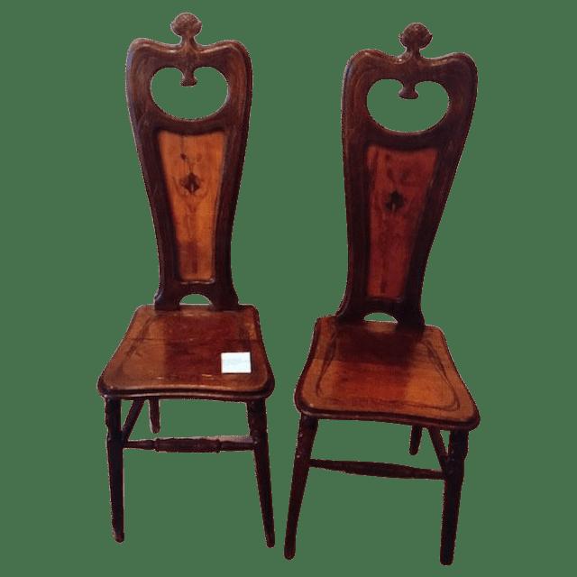 Paire de chaises Art nouveau signées Emile Gallé.