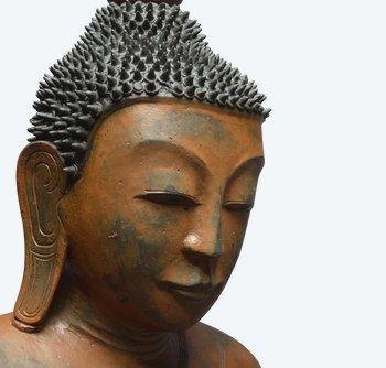 Grand Bouddha Sakyamuni en laque sec / Birmanie - État Shan / XVIIIème - XIXème siècle