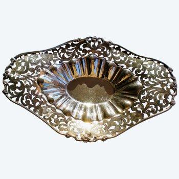 Hübscher und originaler ovaler Korb aus massivem Silber 900 mit durchbrochener Dekoration