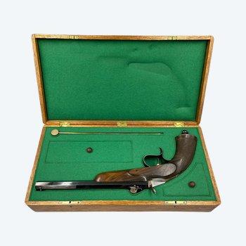 Necessary Box Containing A Salon Shooting Pistol Signed Rollin à Nancy. France XIXth