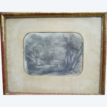 Dessin ancien paysage de 1850 par Lemercier