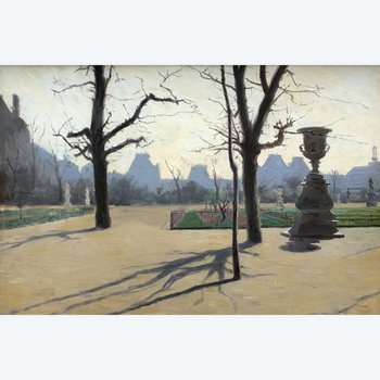 Vue des Tuileries en hiver ep 19eme