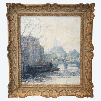 Une huile sur toile , bord de seine par Charles MALLE,