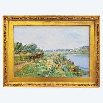 Landschaft mit Karren und Charakter von Léon-Auguste Mellé