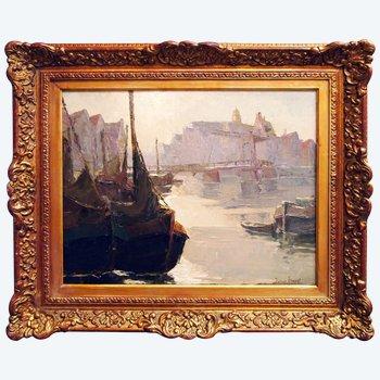 """Öl auf Holz, """"Eingang zum Hafen"""" von Thérèse CLEMENT"""