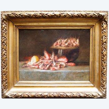 """Huile sur toile, """"Nature morte aux crevettes"""", par Denis BERGERET"""