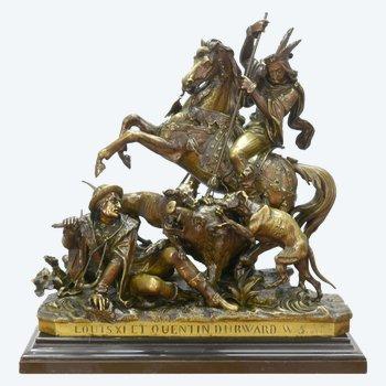 Bronze De J.f.t Gechter époque XIXème Représentant Quentin Durward Et Louis XI