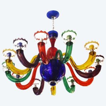 Mehrfarbiger italienischer Kronleuchter aus mundgeblasenem Glas nach Murano