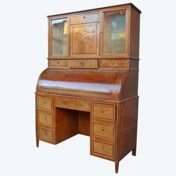 Bureau à Cylindre d'Epoque  Louis XVI Directoire  époque Fin XVIII ème En Acajou