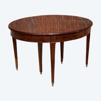Table Directoire six pieds  en acajou à bandeau d'époque directoire