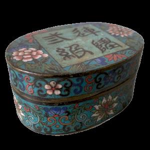 Cloisonné Emaille Kupfer Box mit Kalligraphie Dekor, Fledermaus und Blumen