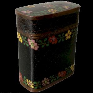 Rectangular Copper Box With Black Cloisonné Enamels With Flower Decor