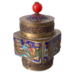 Enamelled box in repoussé copper decorated with dragons, phoenix and pagodas