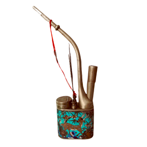 Water pipe in paktong and cloisonné enamel with animal decoration