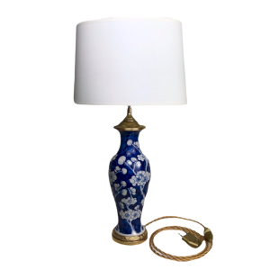 Blue And White Chinese Porcelain Vase Lamp Gilt Bronze Frame Cardeilhac