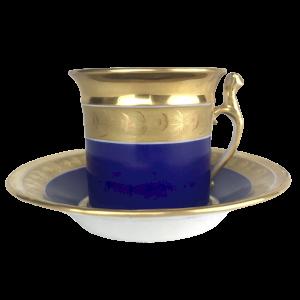 Tasse Porcelaine Bleue & Dorure
