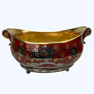 Rot und Gold Porzellan Schüssel Pflanzer mit Chrysanthemen Dekoration, Silber Basis China
