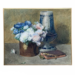 Ernest Quost Aquarell mit Blumenstrauß