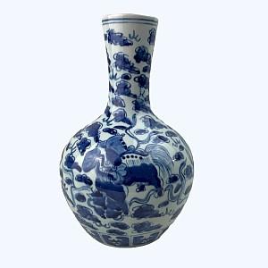 Vase porcelaine chinois bleu et blanc chiens de Fô