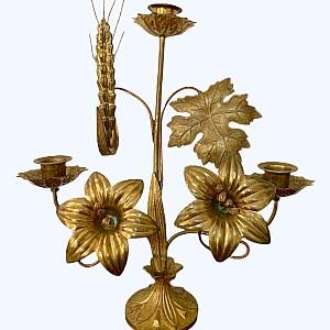 Messing Kirche Kandelaber mit Blumendekor