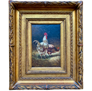 Oil On Panel - Barnyard Scene - Rooster And Hen
