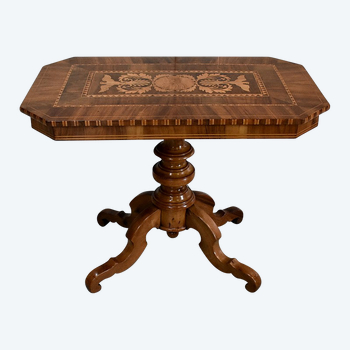 Inlaid Gueridon Table, in Walnut and Light Wood - 2nd part of the 19th century