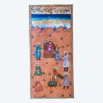 Miniature Indo-Persian leisure scene