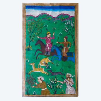 Miniature Indo-Persian hunting scene