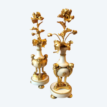Pair of flower candlesticks, first half of the 19th century
