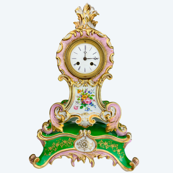 Porcelain clock Jacob style Small rocaille