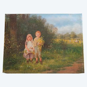 Children with flowers: J.O. Banks oil on panel, signed lower right.