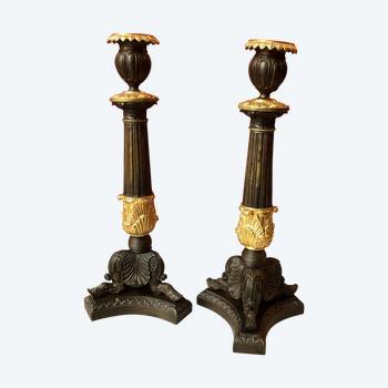 Pair of large candlesticks, Restoration period
