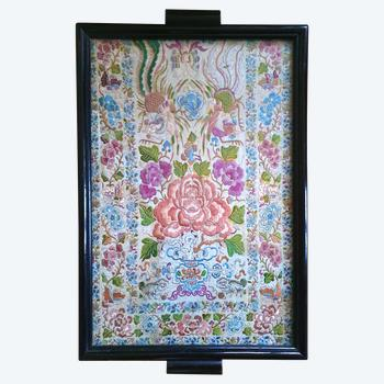 Chinese embroidery framed like a tray