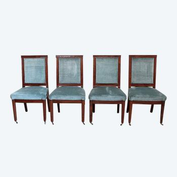 Suite of 4 chairs in solid mahogany, Directoire period - 1800